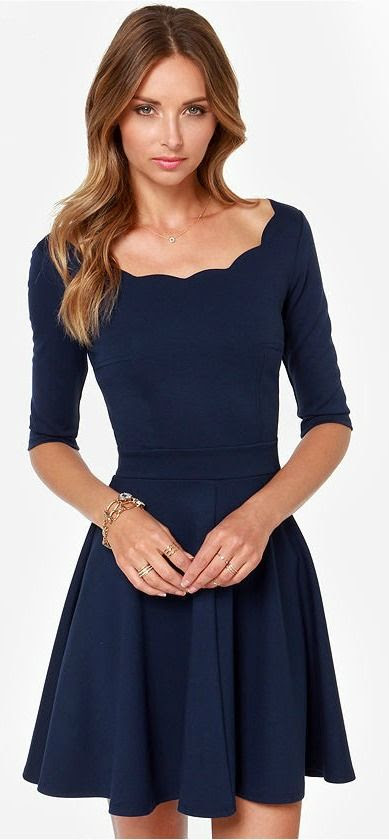 Scallops Navy Blue find more women fashion ideas on http://www.misspool.com