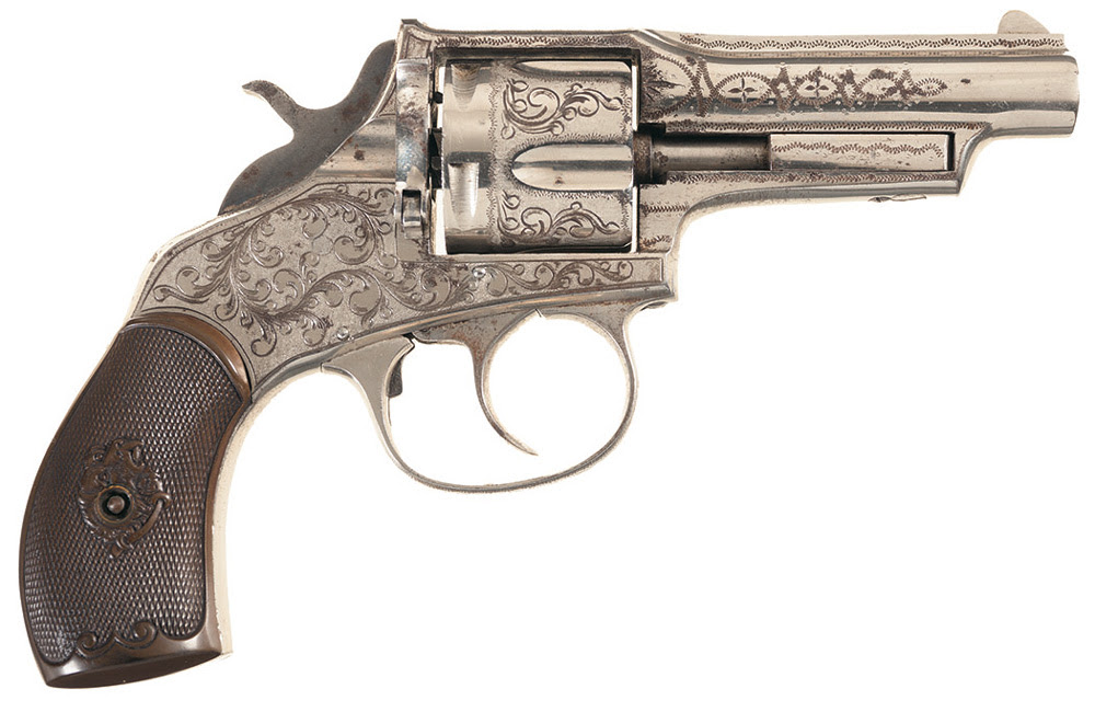 This engraved Iver Johnson Model 1879 Swing Cylinder Revolver sold for $4,312.