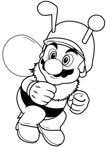 bee mario coloring page  free printable coloring pages