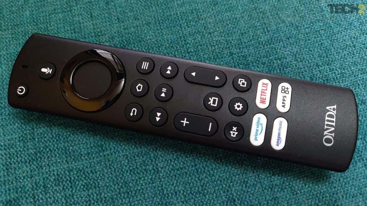 Onida 32HIF Fire TV Edition Smart TV remote has shortcuts for apps like Netflix and Amazon Prime video. Image: tech2/Ameya Dalvi