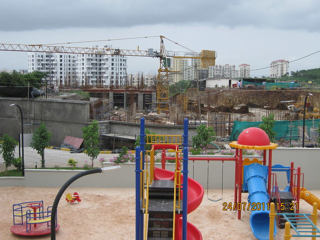 "Under Construction Sobha Ivory & Children's Play Park at Sobha Carnation - on the day of launch of ""Sobha Garnet - 3 BHK & 4 BHK Flats"" - off NIBM Road -  at Kondhwa - Pune"