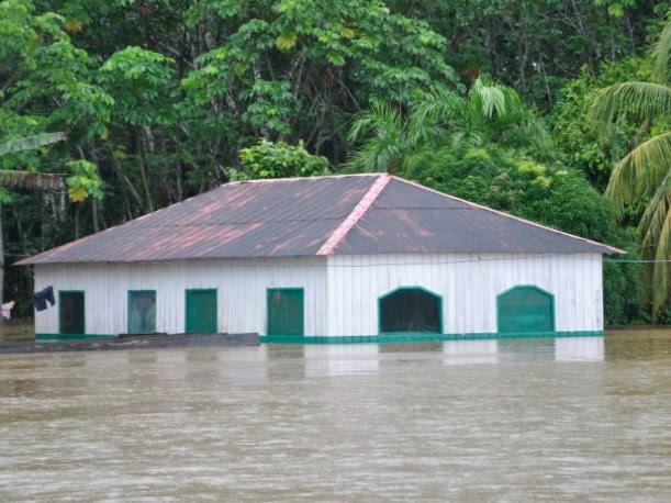 Escola São Roque alagada em Humaitá (Foto: Secretaria Municipal de Educação)