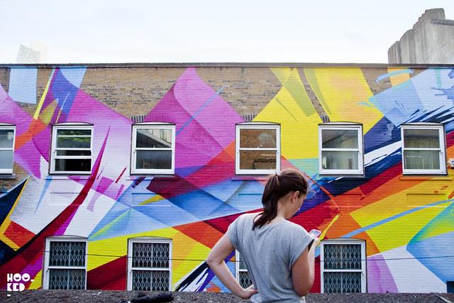 German artist MadC - Graffiti in Shoreditch, Chance Street rooftop