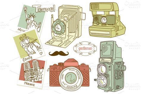 Vintage Camera digital clip art set ~ Illustrations on