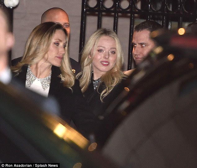 The billionaire's daughter-in-law, Lara Yunaska Trump (left) and his youngest daughter, Tiffany Trump (right) were also photographed leaving the 21 Club