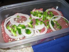 Marinating the steaks