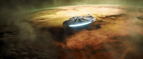 The Millennium Falcon approaches an unknown world in SOLO: A STAR WARS STORY.