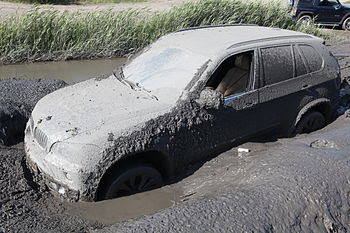 BMW X 5 stuck in the mud