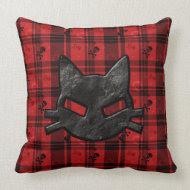 Gothic Bad Kitty Black & Red Tartan Pillow throwpillow