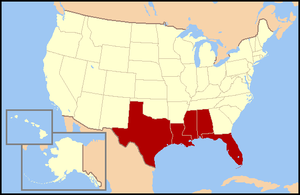 States that border the Gulf of Mexico are show...