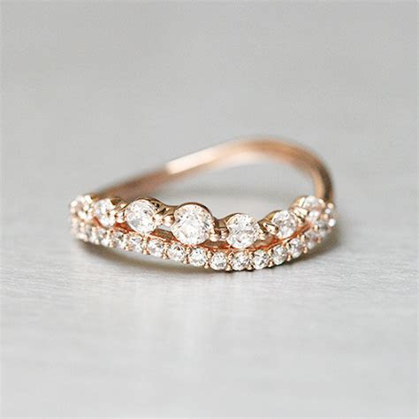 CZ Brilliant Rose Gold Wave Tiara Engagement Ring