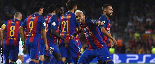 Neymar baada ya kufunga bao la tatu Camp Nou