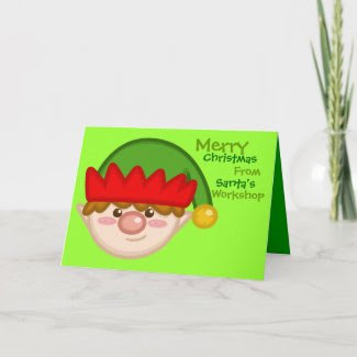 Cheery Santa's Elf Card card