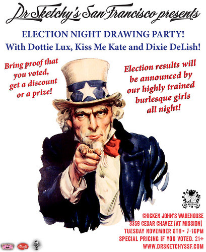 Dr Sketchy's presents Election Night drawing party