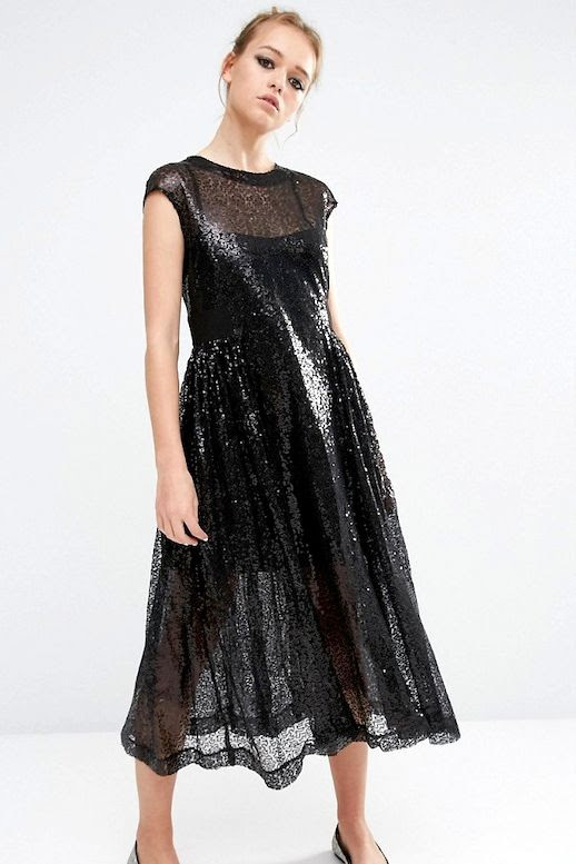 Le Fashion Blog Summer Style Black Sequin Smock Dress Ballet Flats Via ASOS