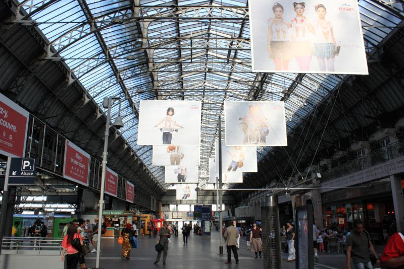The interior of the Gare de l'Est train station in Paris France