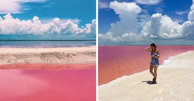 Lagoa naturalmente rosa atrai visitantes no México