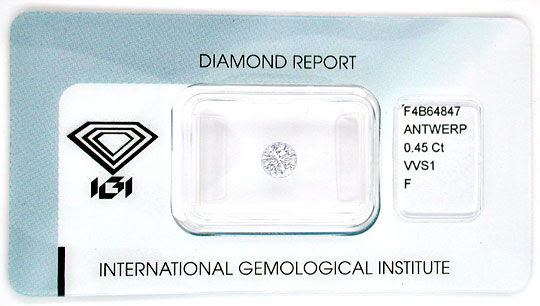 Original-Foto 1, DIAMANT IGI, TOP-BRILLANT 0,45ct TOP-WESSELTON-F JUWEL!