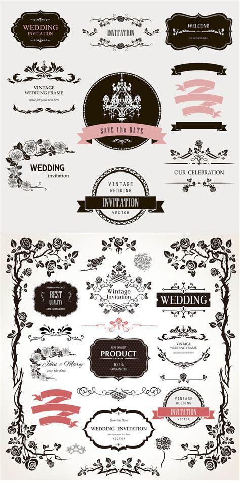 Decorative floral wedding design elements vector graphics