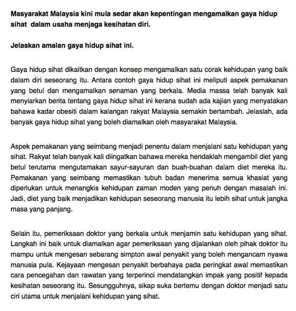 Bahasa Melayu Pt3 Contoh Karangan Gaya Hidup Sihat Pt3