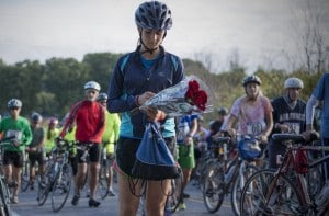 Morgan Cunningham, daughter of Trish Cunningham, leads cyclists to the place where her mother died (file photo). (Marvin Joseph/Washington Post)