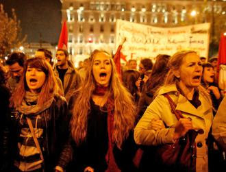 Greece women protesters