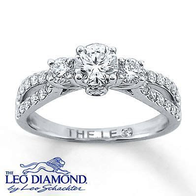 14k White Gold Engagement Ring with Leo Diamonds   Pre set