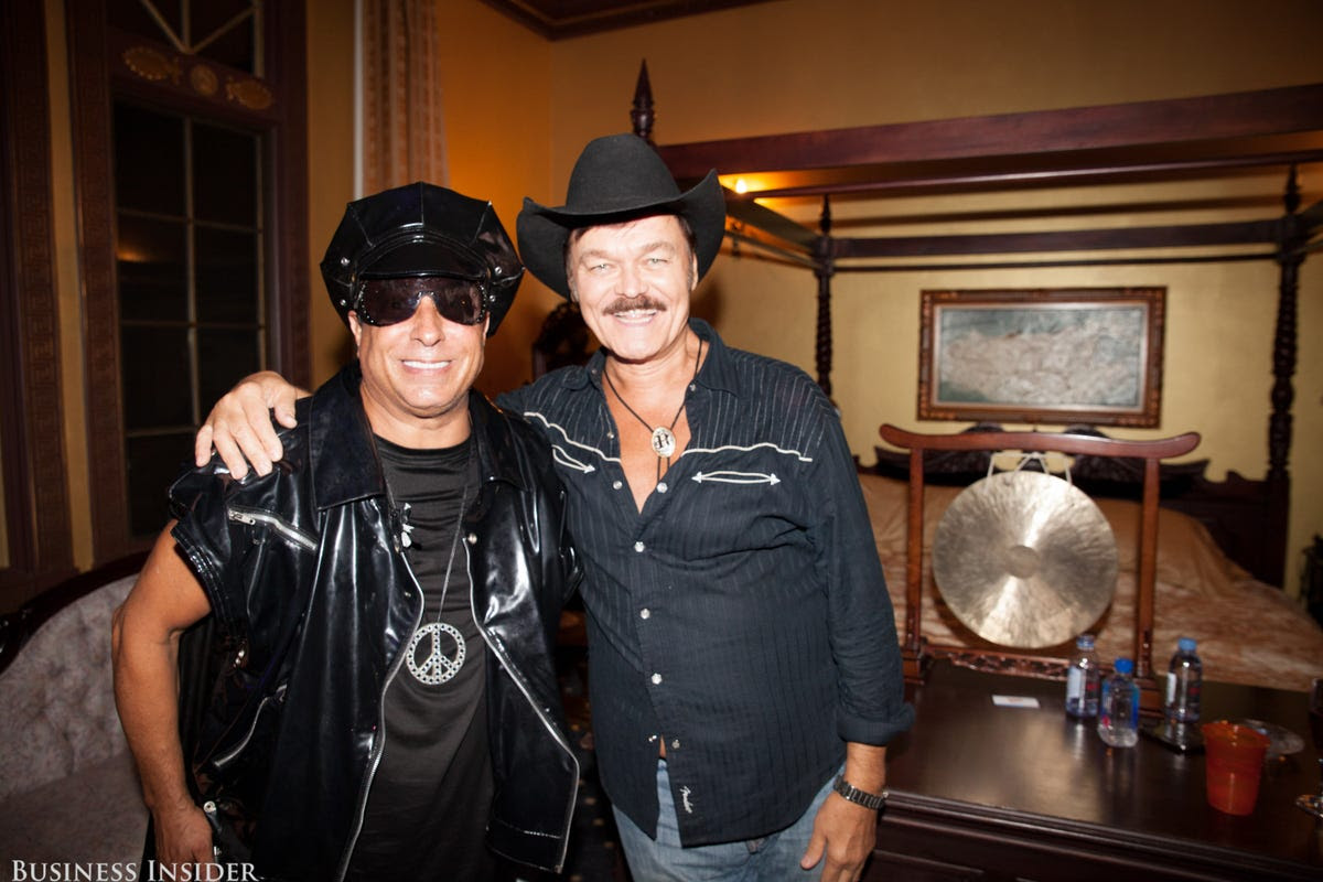 Sir Ivan got to see many friends throughout the night, including one of the Village People's original members, the cowboy Randy Jones.