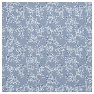 Chic Indigo Blue Ethnic Floral Print Fabric