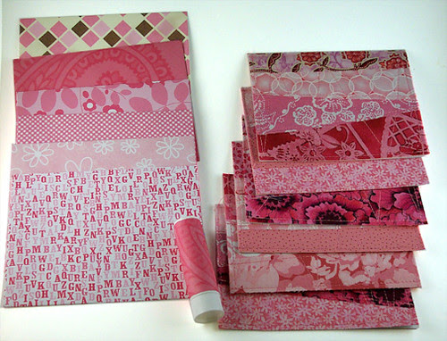 Fabric cards w/ envelopes - pinks
