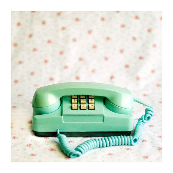mint green, vintage phone