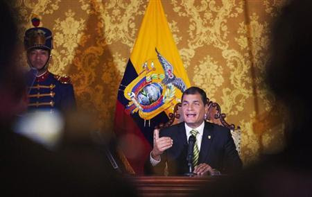 Ecuador's President Rafael Correa delivers a speech in a national broadcasting conference at Carondelet Palace in Quito August 15, 2013. (Credit: Reuters/Guillermo Granja)