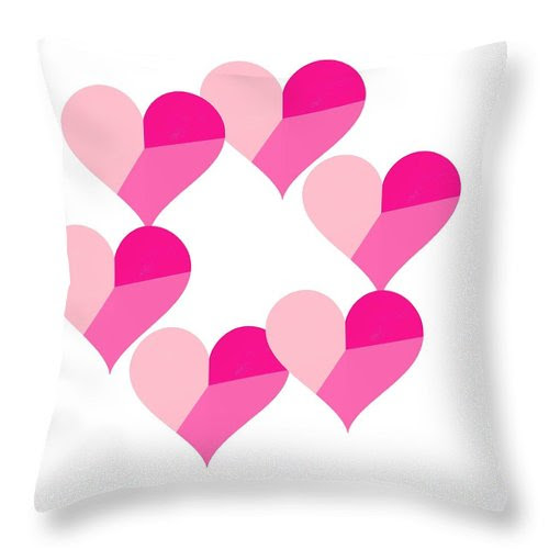 Pink Candy Hearts Throw Pillow featuring the digital art Pink Candy Hearts by Michael Skinner