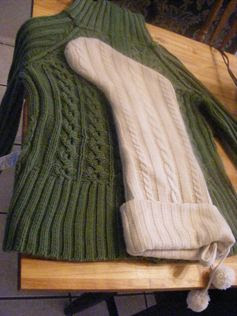 I think this one has the best intructions Christmas stockings from old sweaters