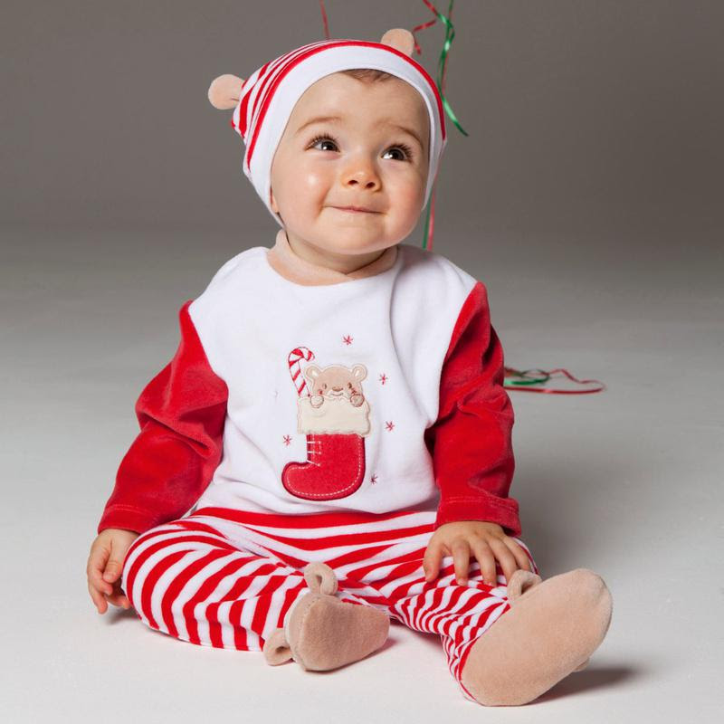 Christmas Baby Sets in 1 Striped Cap Infant Outfits Tee Shoes Suits Socks Top Pajamas Pant C413