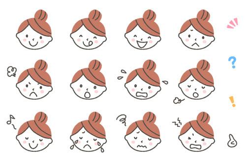 主婦の表情アイコンイラスト12種 可愛い無料イラスト人物素材