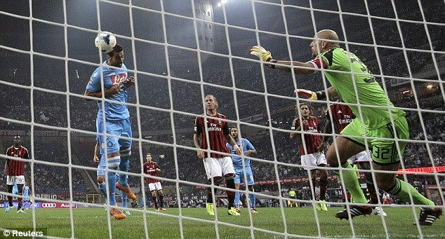 Doubled: Miguel Britos scores Napoli's second goal