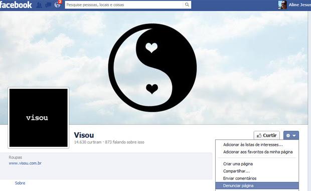 Veja exemplo de como denunciar uma fan page no Facebook (Foto: Reprodução) (Foto: Veja exemplo de como denunciar uma fan page no Facebook (Foto: Reprodução))