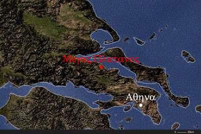 Μέγας Πλάτανος. Χάρτης της περιοχής.