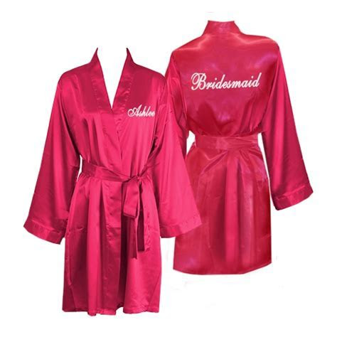Personalized Knee Length Satin Bridesmaid Robes