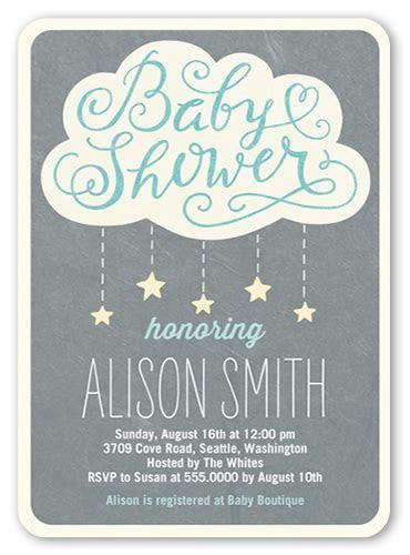 Showering Stars Boy 5x7 Custom Baby Shower Invitations