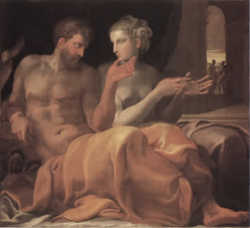 the painting Ulysses and Penelope c1560 by Francesco Primaticco - a look at artistic plagarism