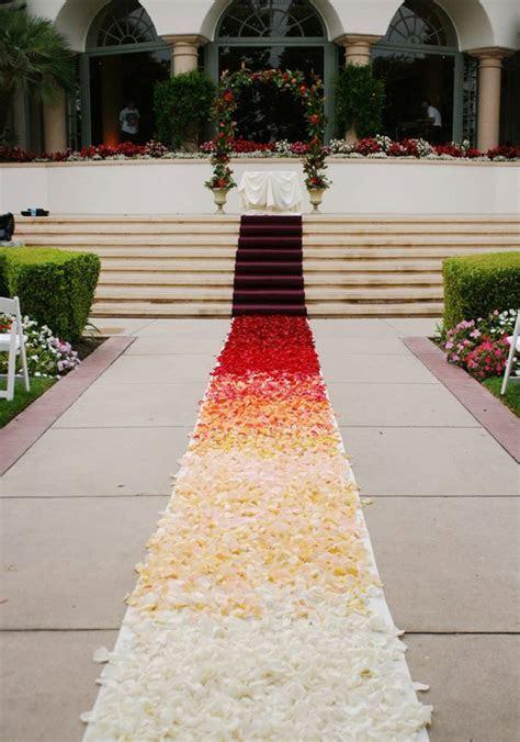 The Autumn Wedding: Ombre Petal Wedding Aisle