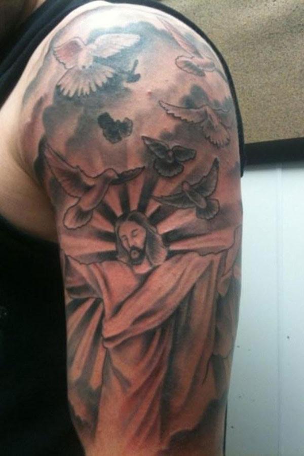 Left Half Sleeve Christian Tattoo