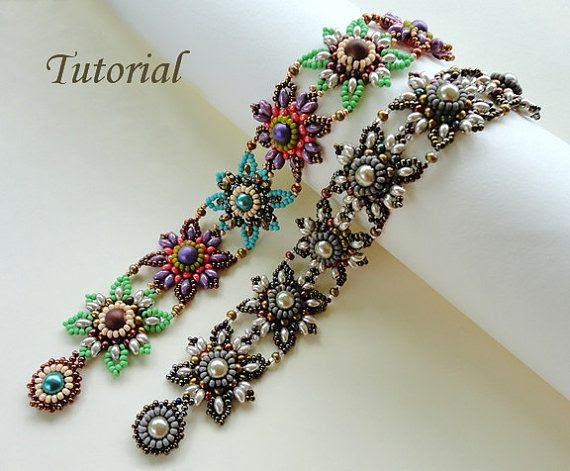 Beading tutorial instructions - beadweaving pattern beaded super duos or twin seed bead jewelry - beadwork JEWELED TILES beadwoven bracelet on Etsy, $5.50