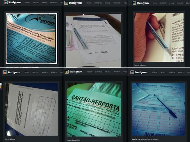 Fotos postadas no Instagram do caderno de provas do Enem, da folha de respostas e do envelope para guardar equipamentos eletrônicos (Foto: Reprodução/Instagram)