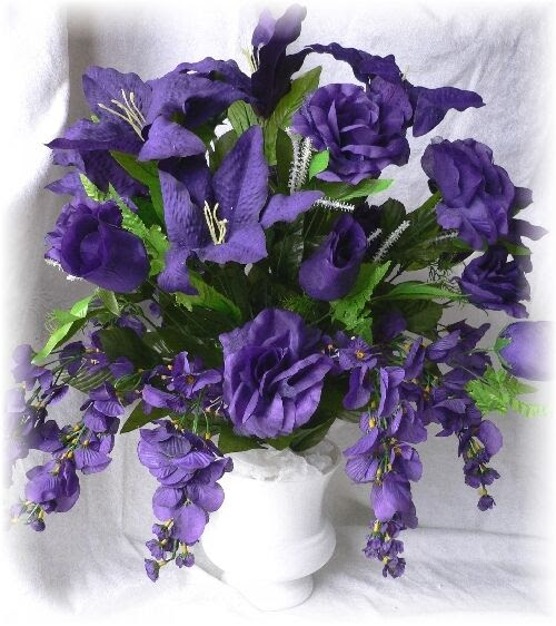 PURPLE Roses Tiger Lily Silk Floral Arrangement Wedding Centerpiece  eBay