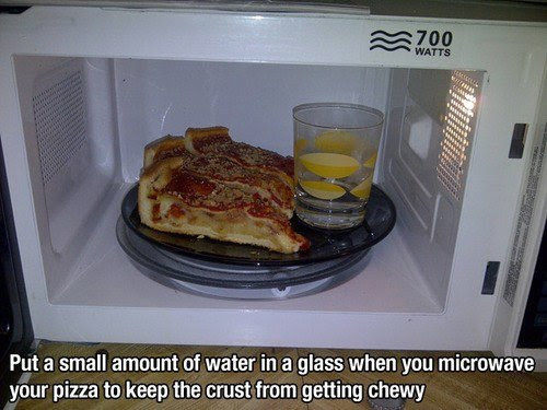 put a small amount of water in a glass when you microwave your pizza