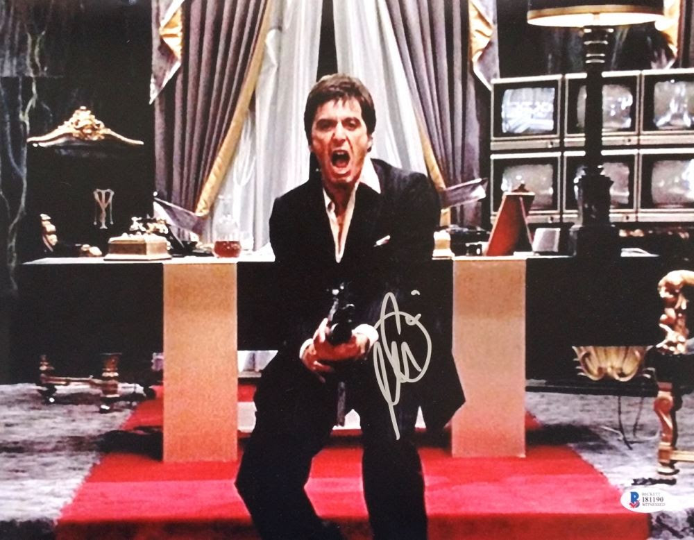 Al Pacino Signed Scarface Say Hello To My Little Friend 11x14