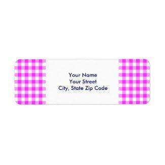 Pink and White Gingham Pattern return address Return Address Label